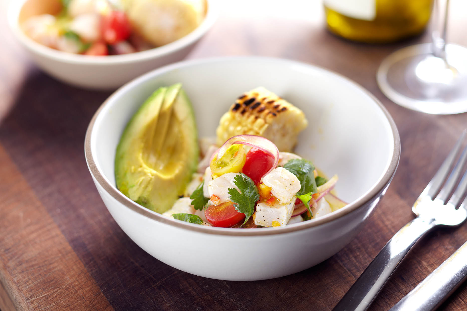Caprese Salad with Avacado & Corn on the Cobb