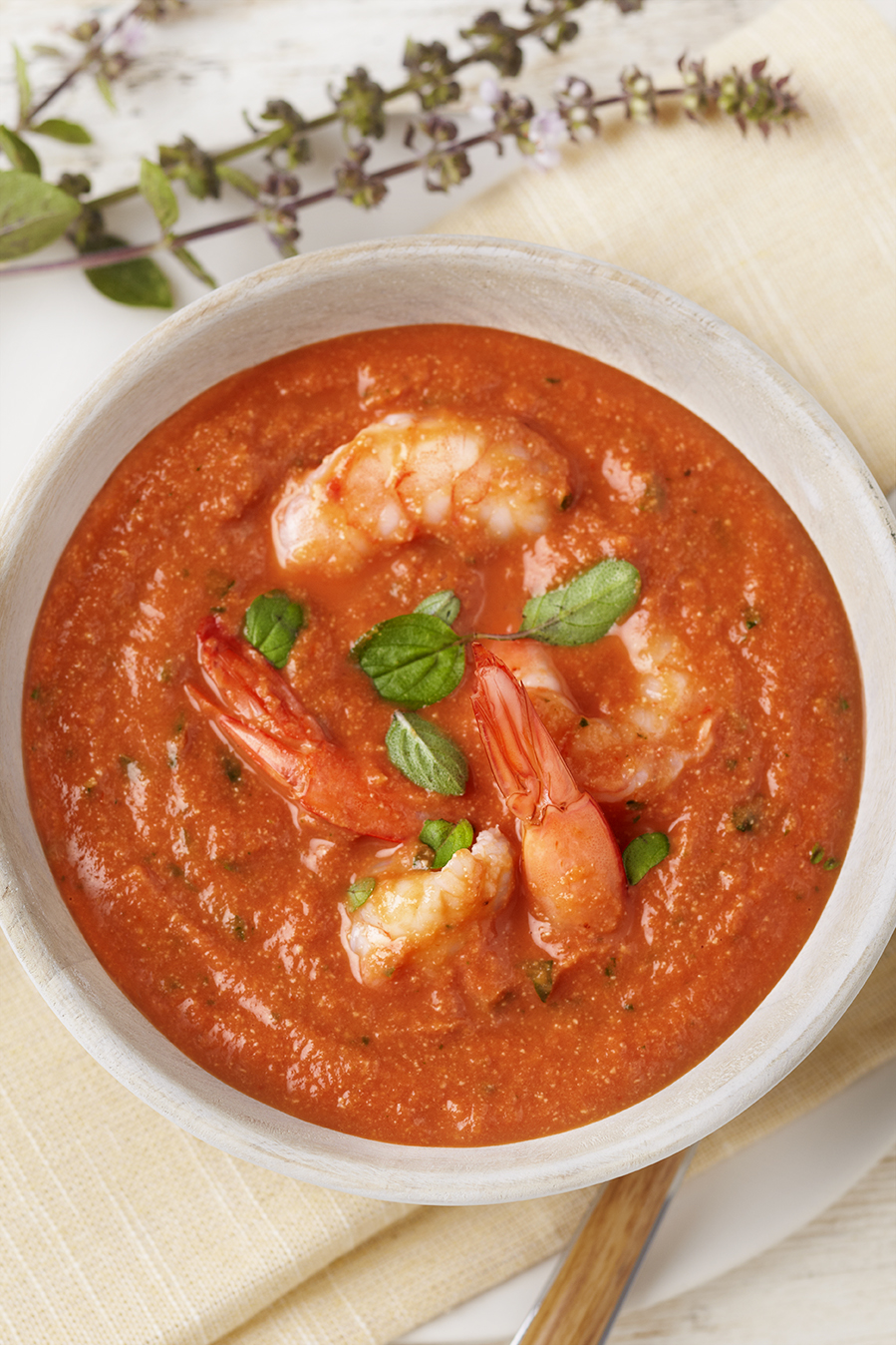 Tomato Basil Soup With Shrimp