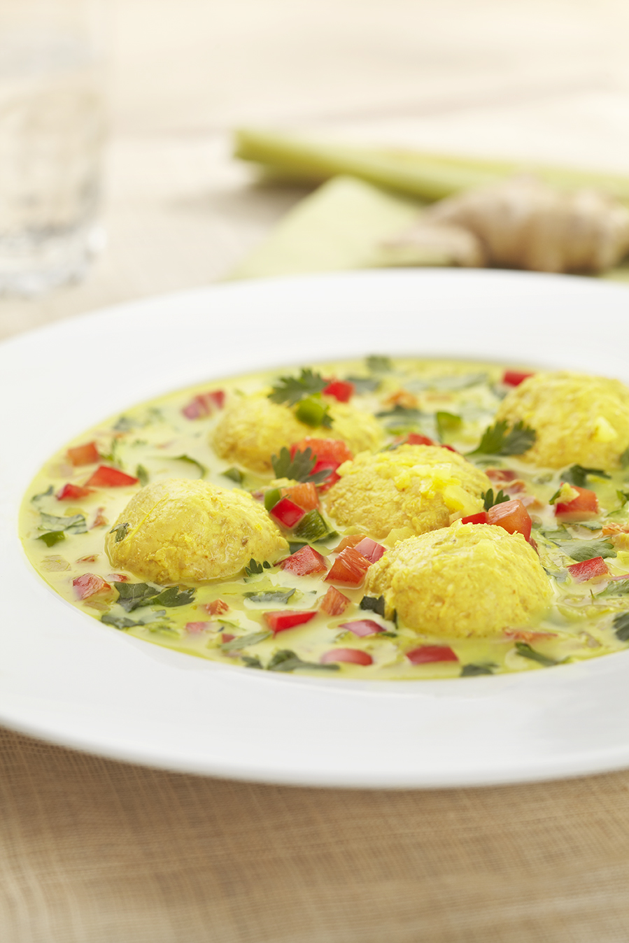 Yellow Curry with Chicken Meatballs
