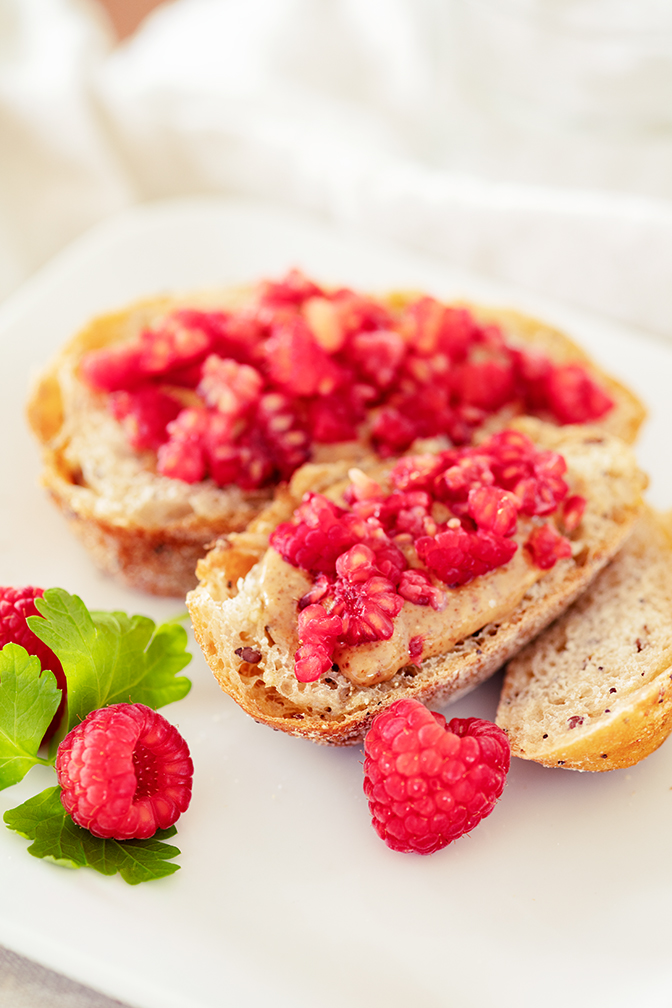 Almond Butter Toast w Raspberries