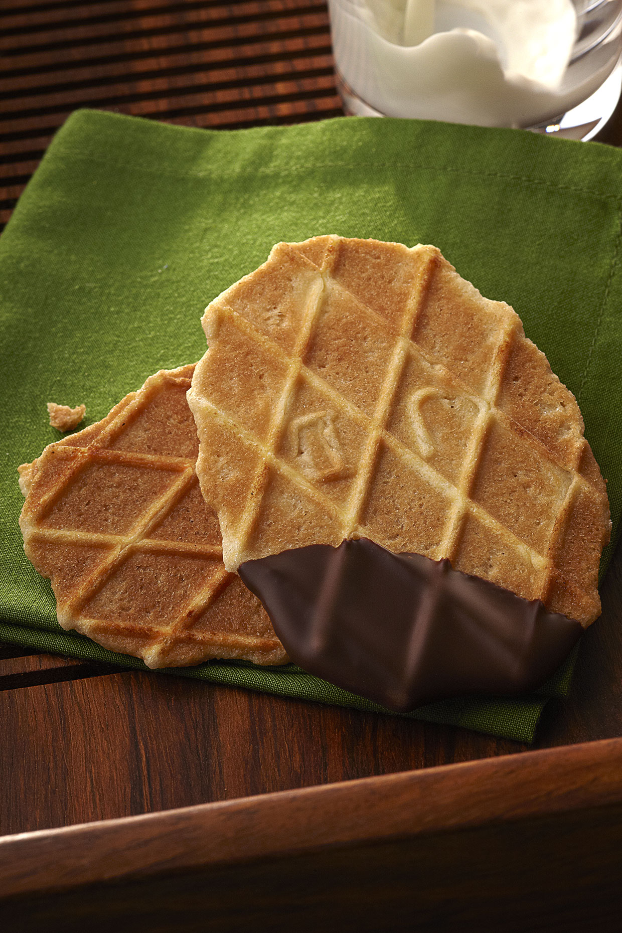 Waffle Cookie dipped in chocolate