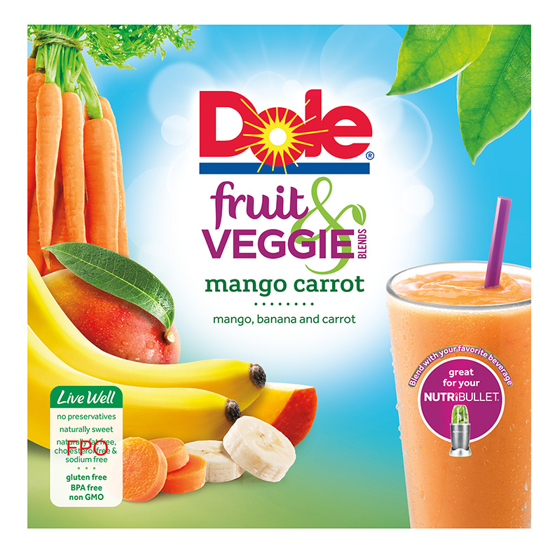 Dole Fruit and Veggie Blends Mango Carrot Layout