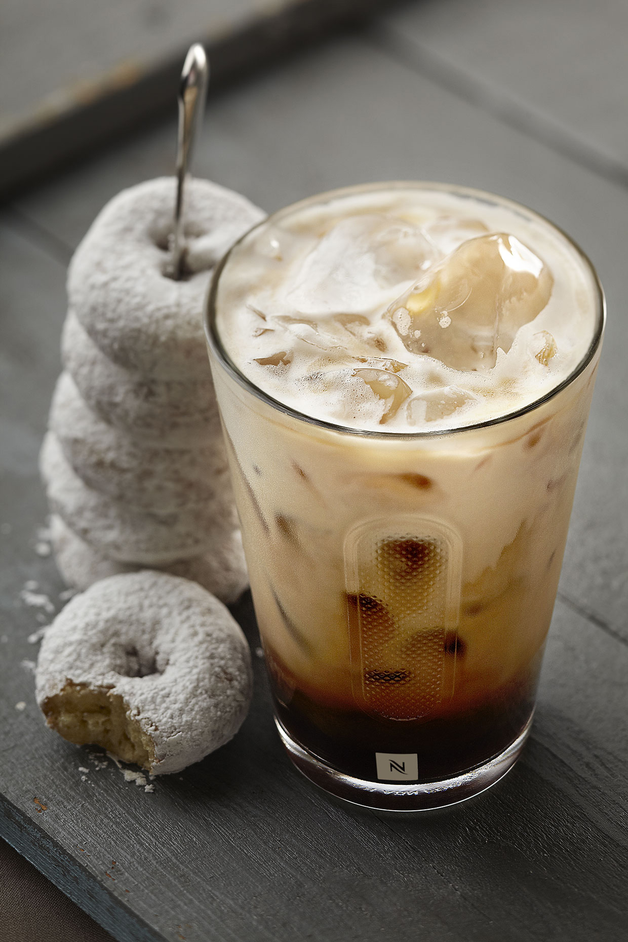 Ice Coffee & Powdered Doughnuts