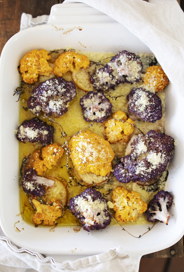 Yellow and Purple Roasted Cauliflower Roasted