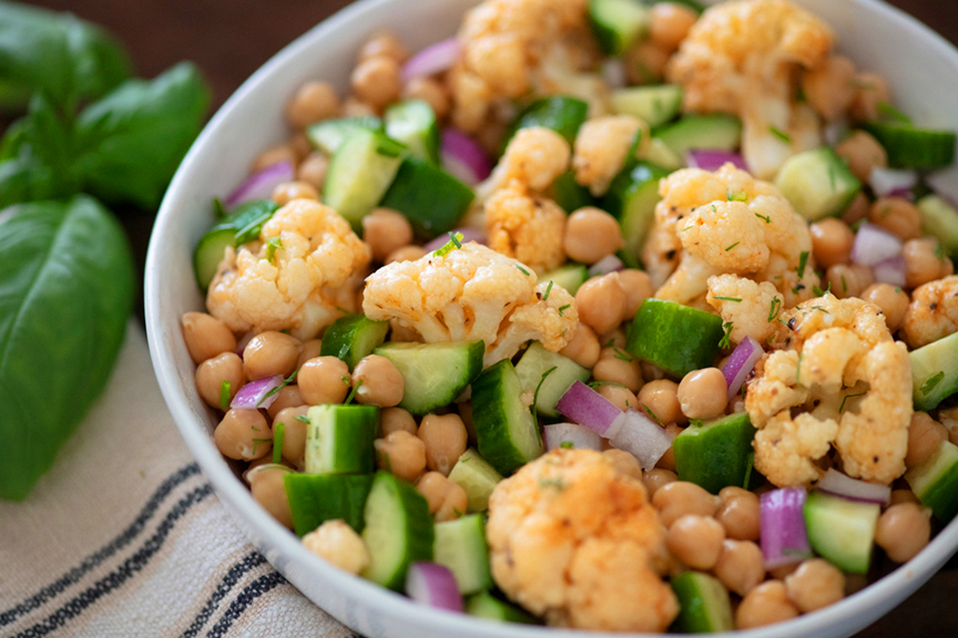 Roasted Cauliflower and Cucumber Bean Salad
