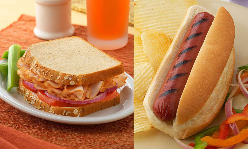 Turkey Sandwich and American Hot Dog
