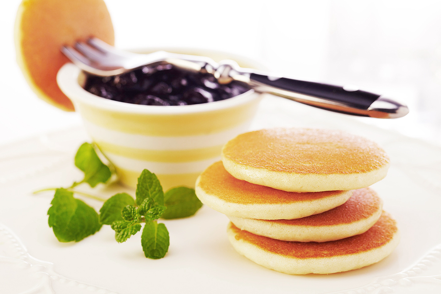Mini Pancake Stack with Blueberries