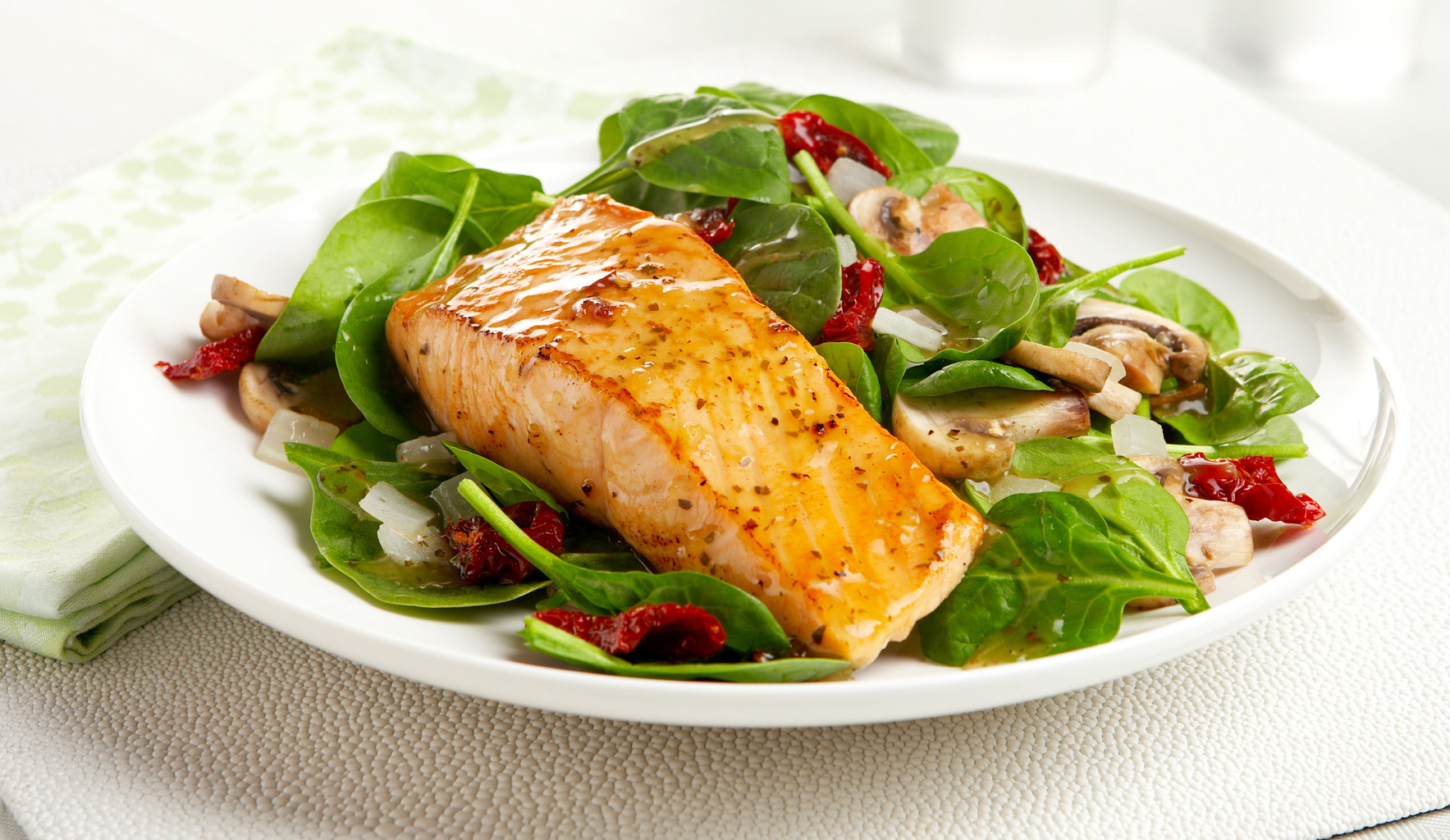 Broil Salmon on Greens