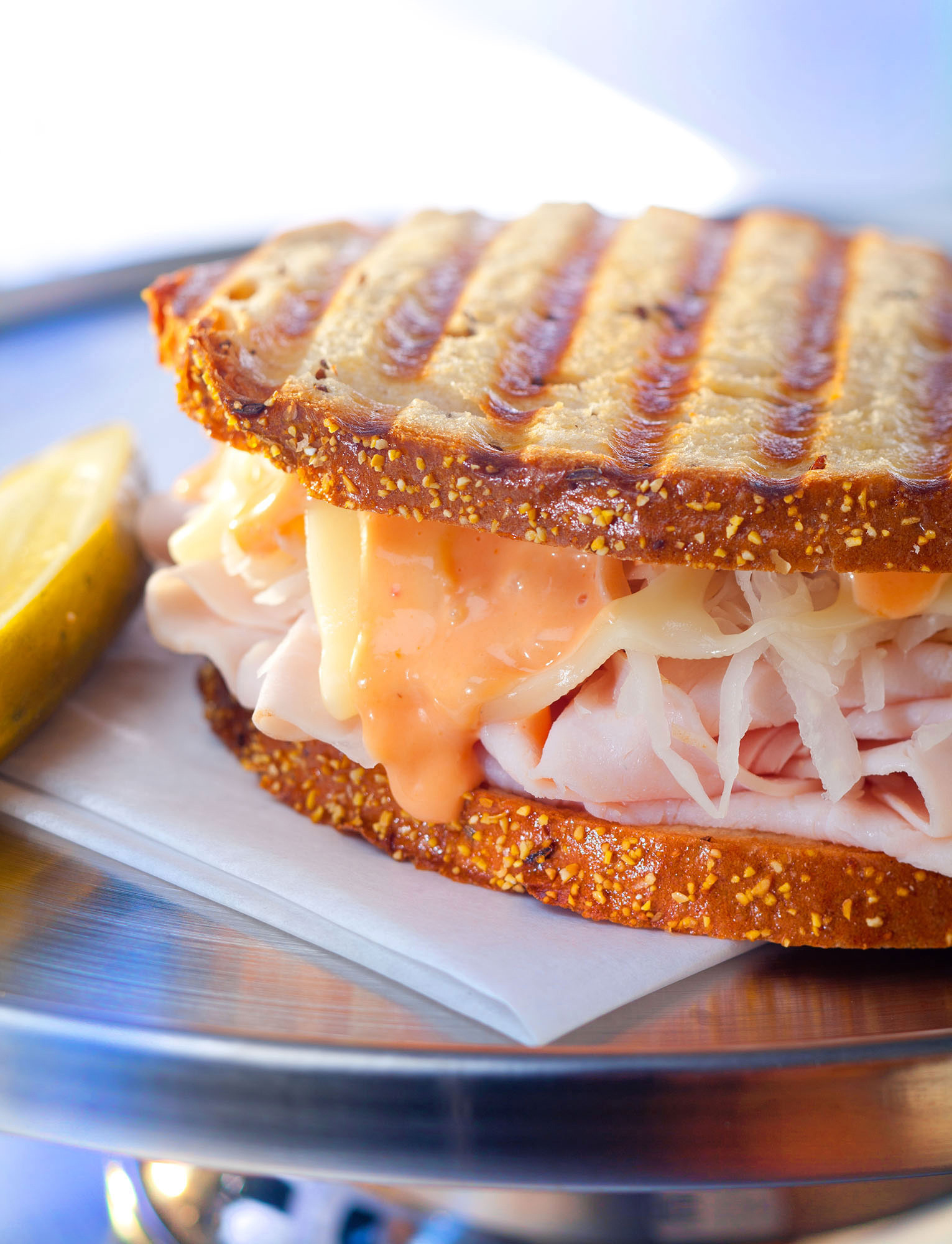 Turkey Onion and Thousand Island Grilled Sandwich